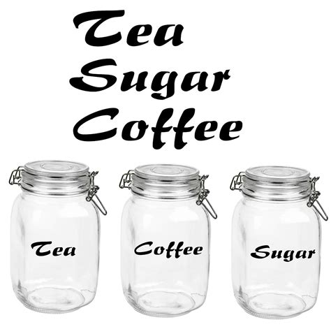 Glass Canister Sets For Kitchen tea coffee sugar glass canister label decals stickers
