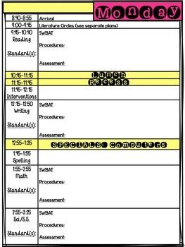 Daily Lesson Plan Template Editable By Nicole Swisher All Things Apple In 2nd Pre K Daily Lesson Plan Template
