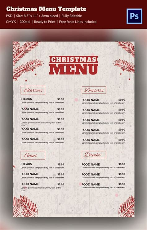 menu card template free psd menu template 37 free psd eps ai