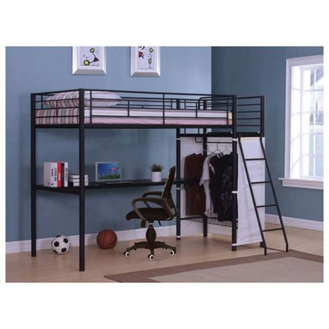 metal loft bed with desk black steel loft bed with long desk also a space for