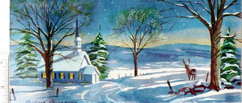Snow Scene Christmas Cards Christmas Lights Card and Decore