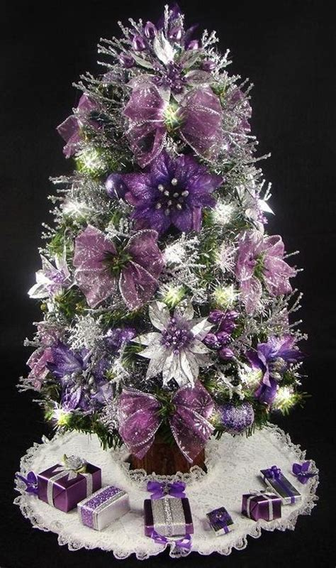 mini tabletop christmas tree purple and silver 17