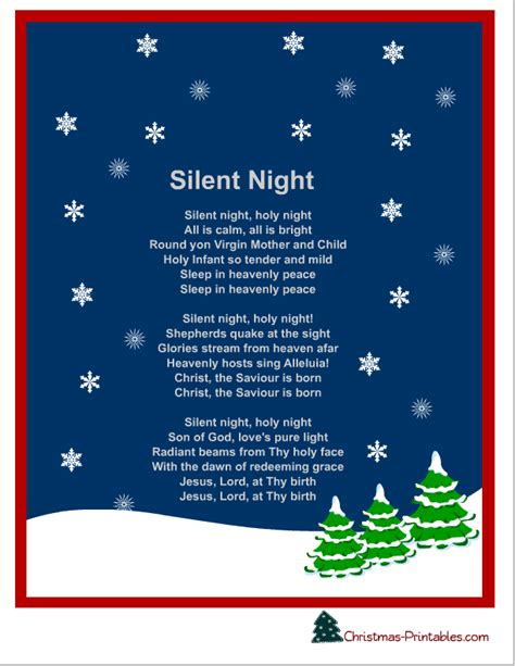 printable christmas carols free printable silent night christmas carol lyrics free