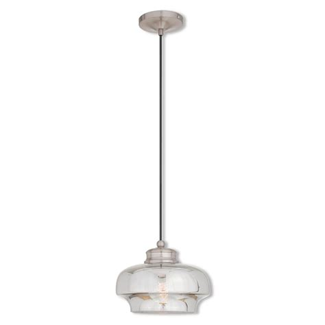 Brushed Nickel Glass Pendant Light Livex Lighting Glass 1 Light Brushed Nickel Mini Pendant 40607 91 The Home Depot