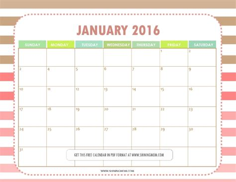 free download printable planner 2016 all lovely free printable january 2016 calendars