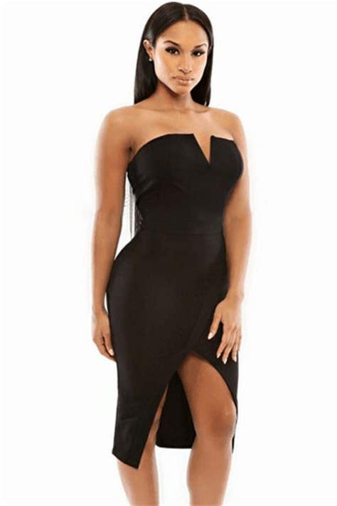 Black Slim Dress cheap black v cut bust slim fit front slit midi dress from