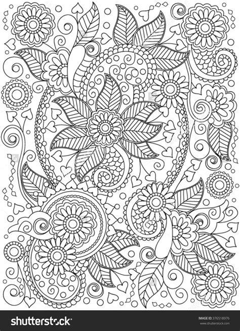 Hand-Drawn Henna Abstract Mandala Flowers and Paisley