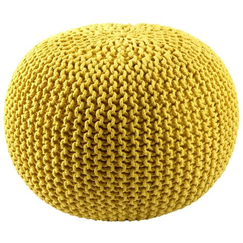 Fcr1803 St Croix Fcr1803 Pouf Ottoman 16 Quot Yellow Cotton