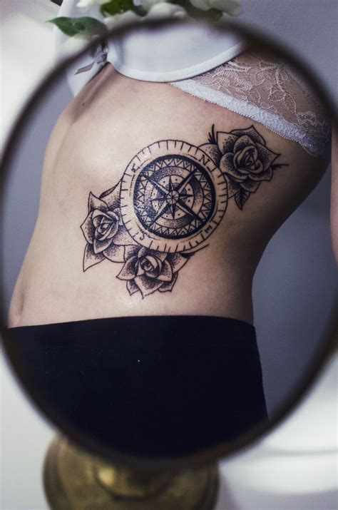 sideboob tattoo rosewind roses compass side