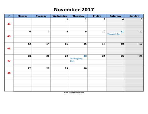 printable calendar november 2017 weekly november 2017 calendar printable templates calendar office