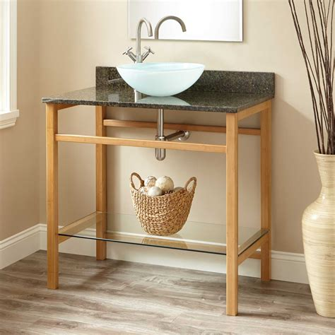 Open Bathroom Vanity Wood Open Shelf Vanity Signature Hardware