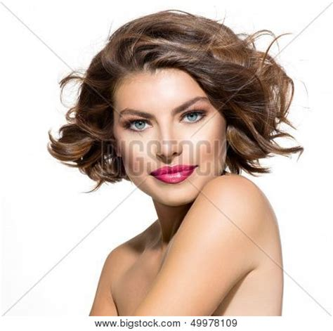 short curly hair model beauty young woman portrait over image photo bigstock