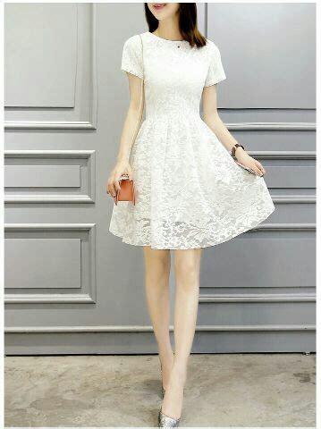 Dress Cantik Pendek baju dress pendek brukat putih cantik murah model terbaru