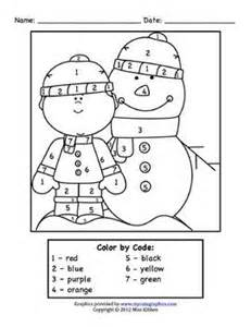 winter color by number winter homework packet color by