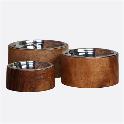 elevated bowls acacia plantation wood raised bowl elevated feeders
