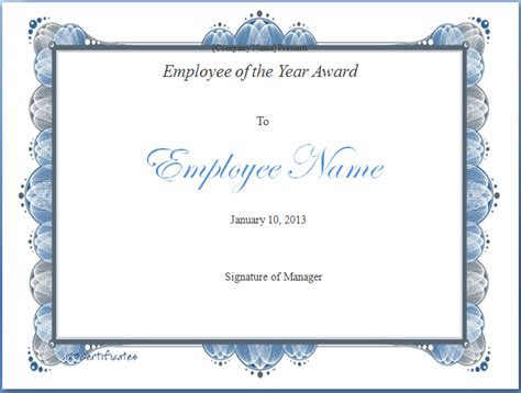 employee of the year certificate template employee of the year award template blue layouts
