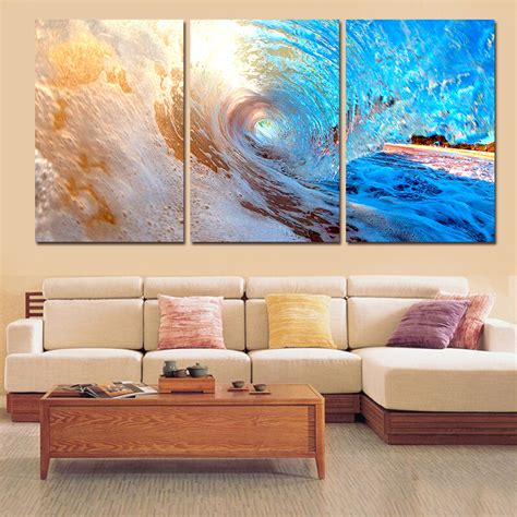 canvas prints home decor wall art painting blue sea boat 3 plane abstract sea wave modern home decor wall art