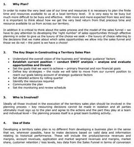 Sales Business Plan Template by Sle Territory Plan Template 8 Free Documents In Pdf
