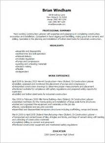 Sle General Labor Resume by Professional Construction Laborer Resume Templates To Showcase Your Talent Myperfectresume