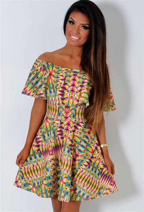 Tripy Ruffle 1 zanna psychedelic multicolour ruffle stretch bandeau frill skater dress pink boutique