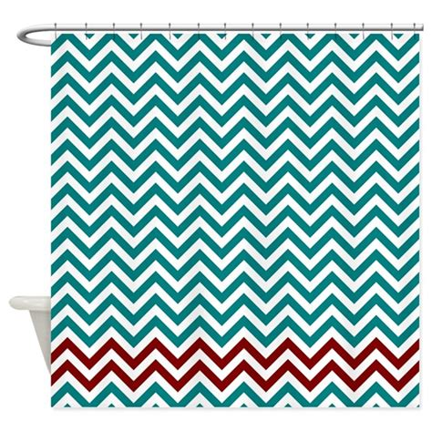 red and teal curtains teal and dark red zigzags shower curtain by