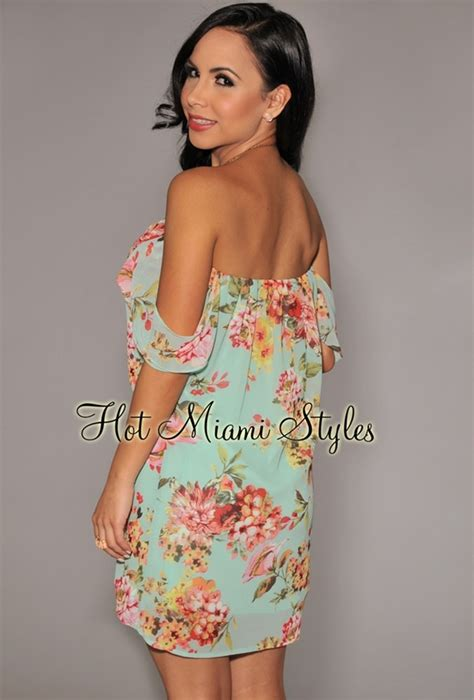 Shoulder Floral Minidress mint the shoulder floral mini dress