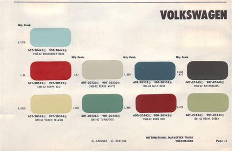 paint chips 1960 volkswagen