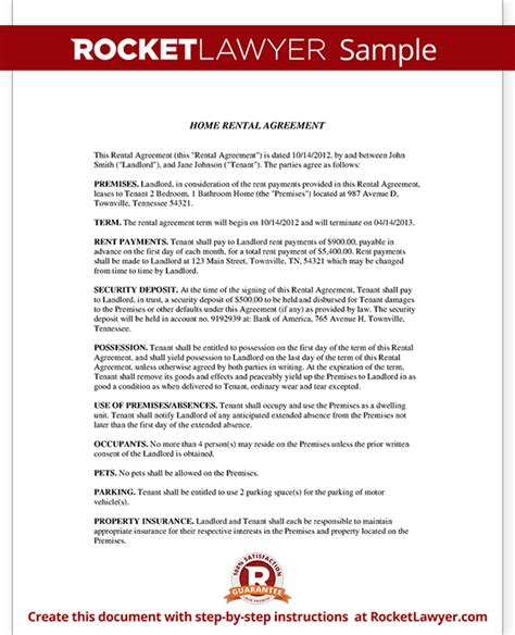 Agreement Letter For House Rent Home Rental Agreement House Lease Contract Form Template