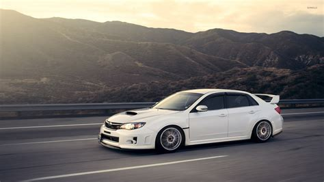 subaru cars white white subaru impreza wrx sti on the road wallpaper car