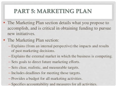 marketing plan sections business plan