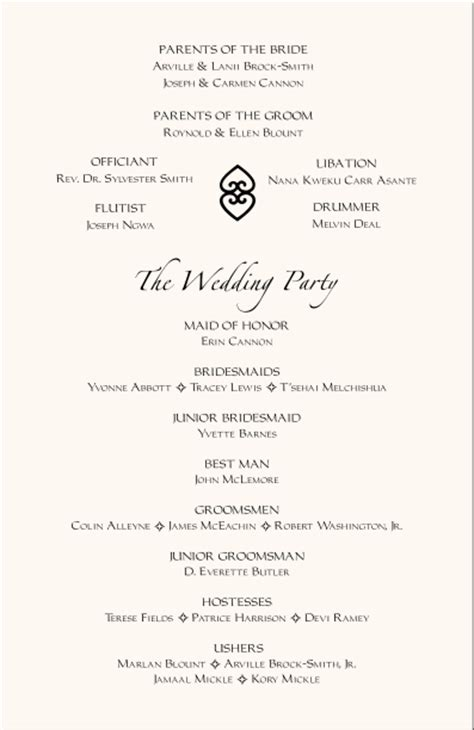 wedding reception program template american wedding programs adinkra wedding program