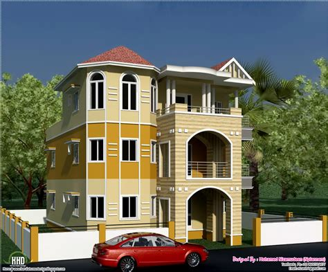 3 floor house design 3 storey south indian house design architecture house plans