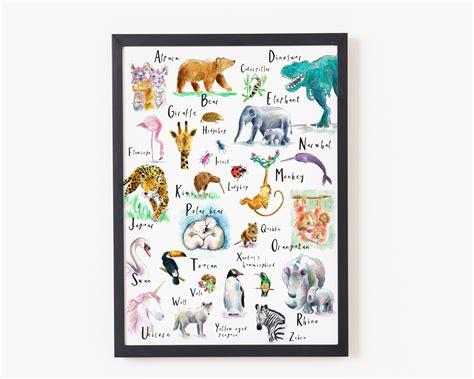 abc animal alphabet poster nursery decor woodland
