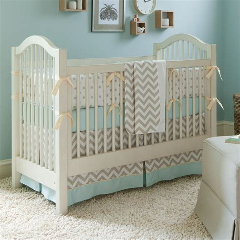 crib comforter taupe zig zag crib bedding boy or girl baby bedding