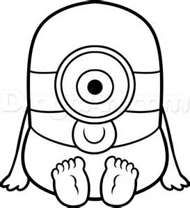 How To Draw A Baby Minion Step By Characters Pop Culture FREE  sketch template