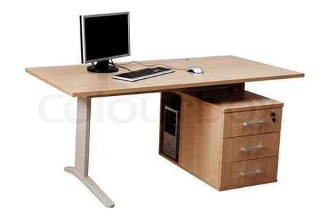 Computer Desk Background Table And A Modern Computer On A White Background Stock Photo Colourbox