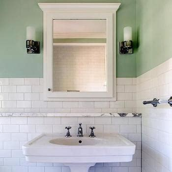 marble bathroom shelf green subway tile backsplash transitional bathroom