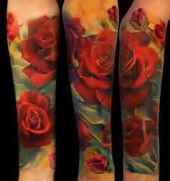realistic red roses half sleeve tattoo andrey barkov
