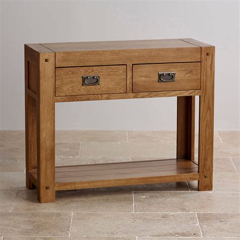 oak console quercus console table in rustic solid oak oak furniture land