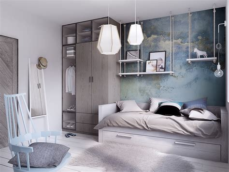 sky blue bedroom concrete finish studio apartments ideas inspiration