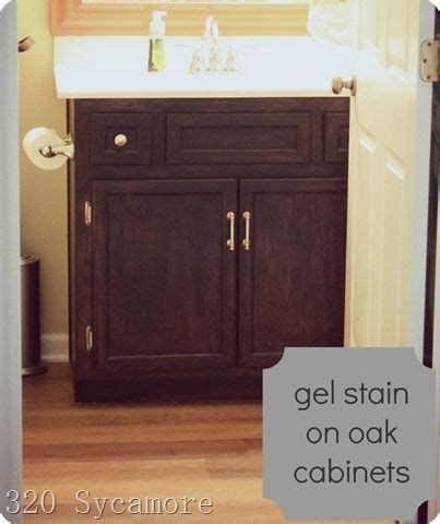 we used gel stain no sanding on our oak cabinet in our