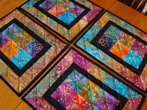 Patchwork Placemat Patterns - modern batik patchwork quilted placemats set of 4
