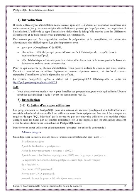 tutorial postgresql linux postgresql sous linux