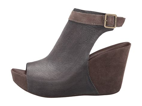 Marc By Marc Patchwork Combo Peep Toe Wedge by Kork Ease Berit Grey Combo Brown Peep Toe Wedge Sandal