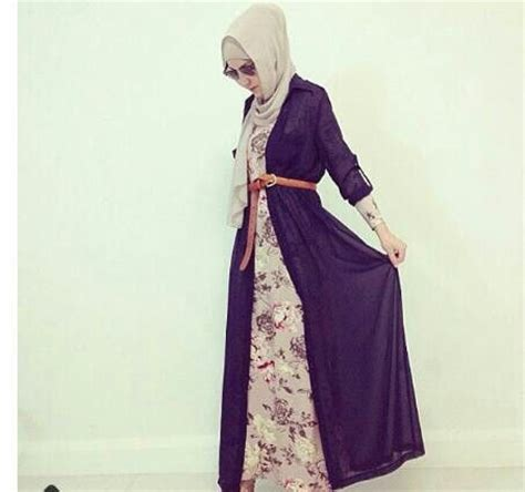 07272 Gamis Lirin Navy Baju Muslim Maxi Dress the cardigan maxi dress modest cardigan maxi