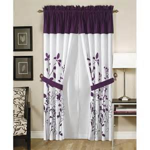 Purple Valance Curtains Renee Purple And White Curtain Set W Valance Tiebacks Window Treatment Curtains
