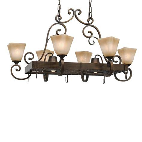 lowes hanging pot rack with lights shop golden lighting meridian 26 5 in w 8 light golden