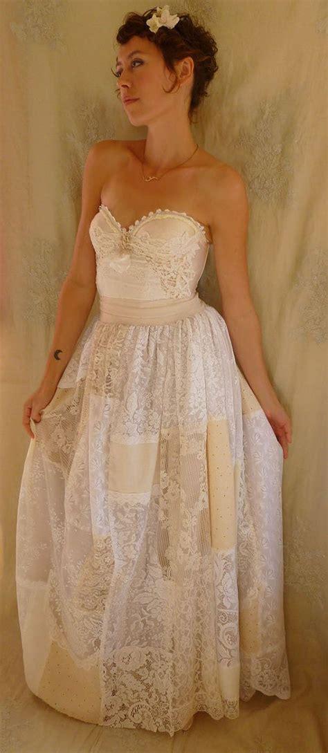 Patchwork Wedding Dress - prairie bustier wedding gown size medium alternative