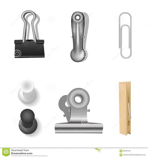 office clip set and office supplies vector illustration stock