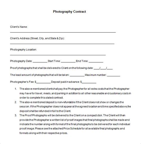 free photography contract templates 7 commercial photography contract templates free word